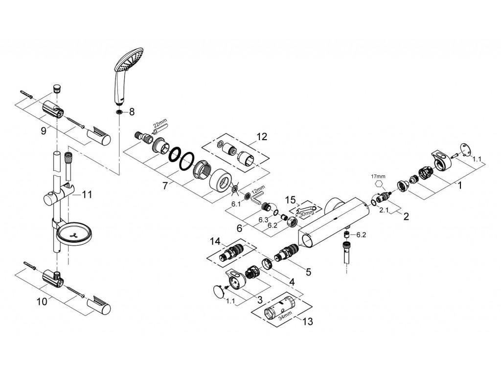 Grohtherm 2000 Termostatik duş qarışdırıcısı / duş seti dahil