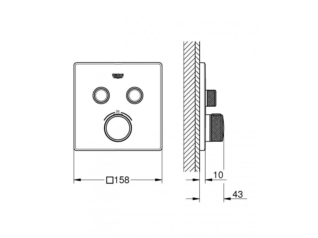 Grohtherm SmartControl cüt ventilli akış kontrollu, divar ici termostatik duş qarışdırıcısı