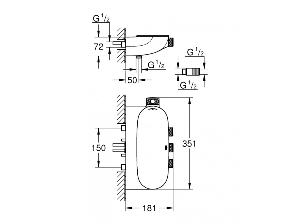 Grohtherm SmartControl Üç ventilli akış kontrollu termostatik duş qarışdırıcısı, açık/gizli ventil
