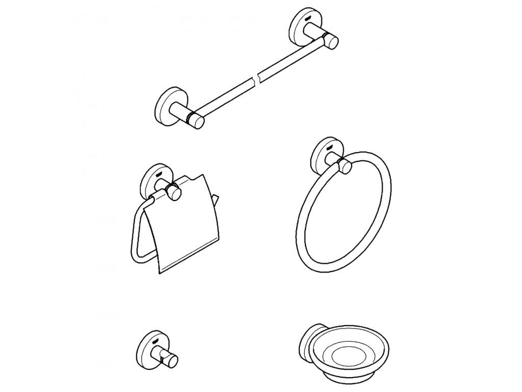 Essentials 5'i bir arada hamam aksesuar seti