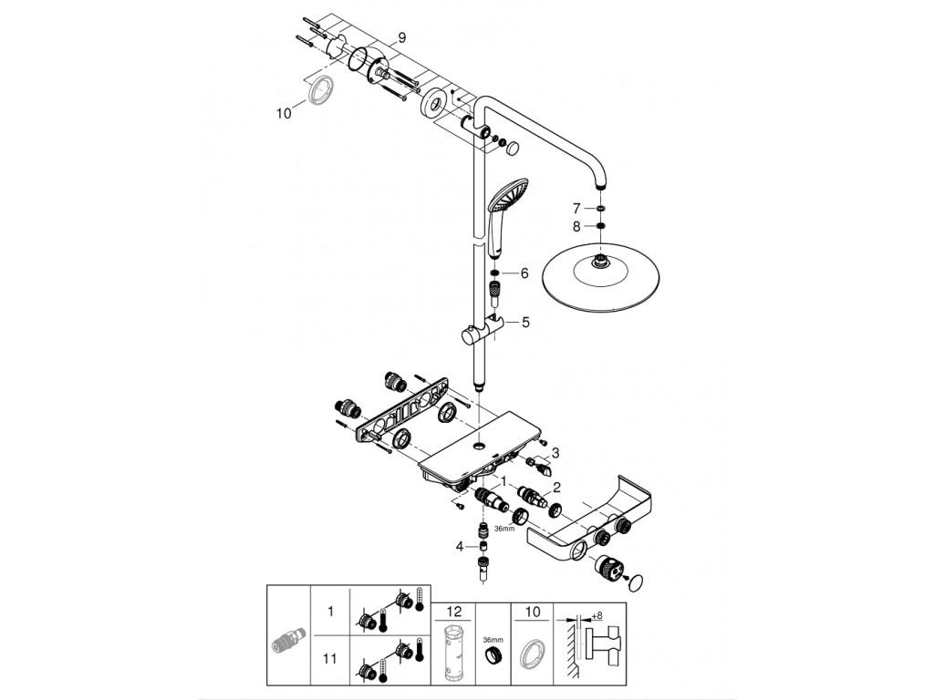 Euphoria SmartControl 260 Mono Duş sistemi divara montaj termostatik qarışdırıcılı duş sistemi
