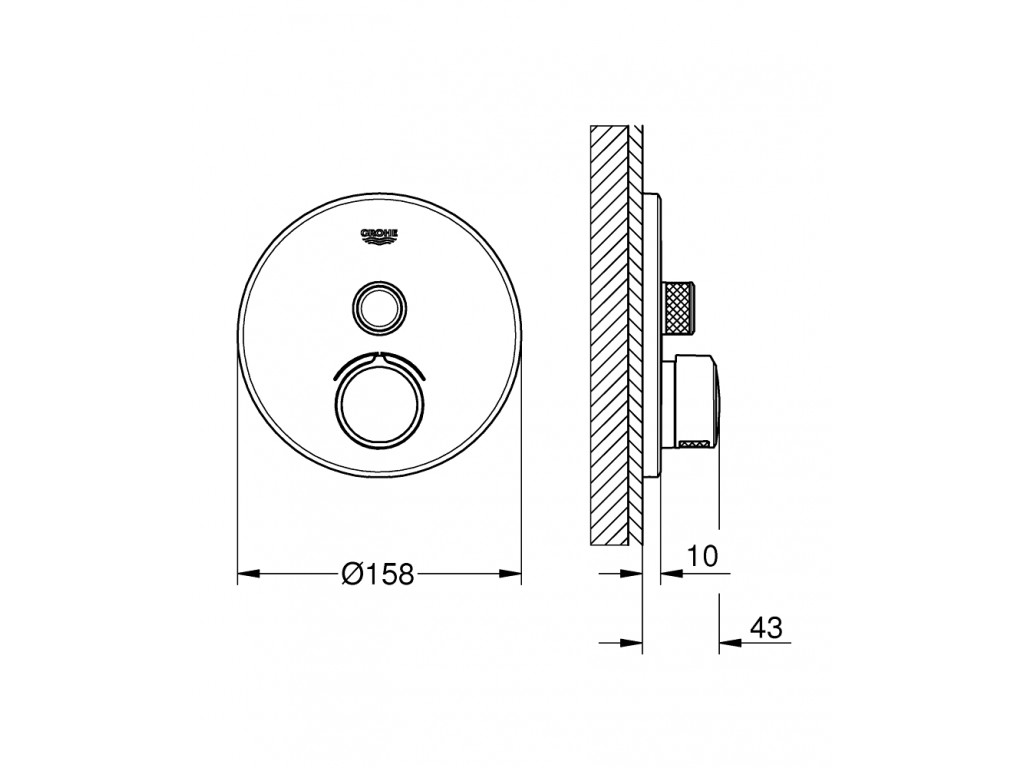 SmartControl Tek ventilli akış kontrollu divar ici duş qarışdırıcısı