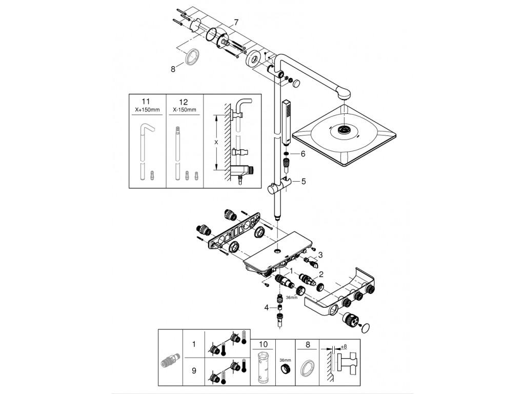 Euphoria SmartControl System 310 Cube Duo divara montaj termostatik qarışdırıcılı duş sistemi