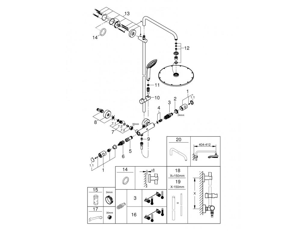Euphoria System 310 divara montaj termostatik qarışdırıcılı duş sistemi
