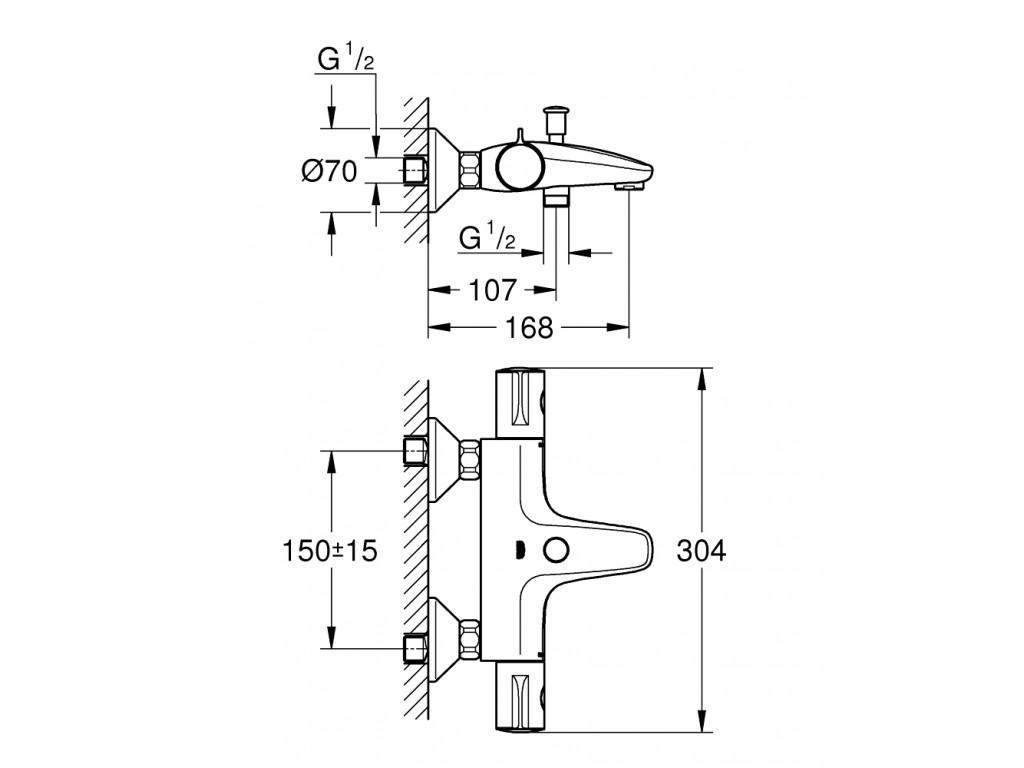 Grohtherm 800 Termostatik hamam qarışdırıcısı