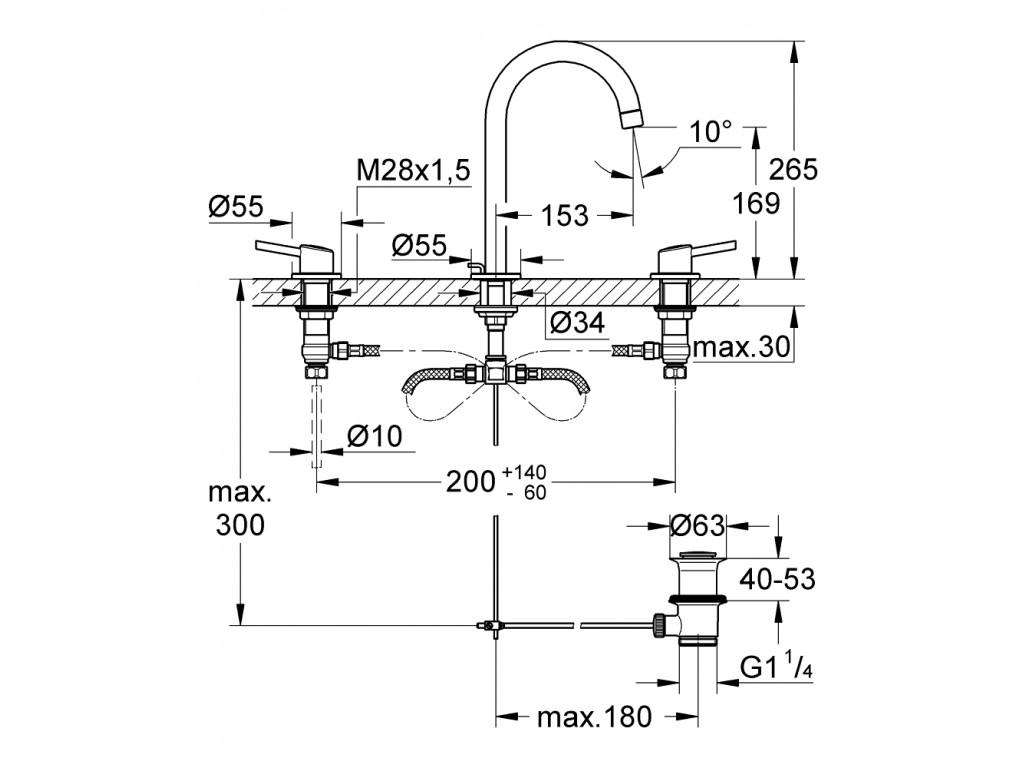 Concetto 3 dəlikli çanaq qarışdırıcısı  L-ölcü