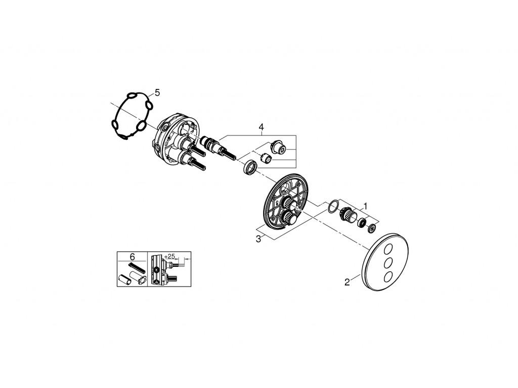 Grohtherm SmartControl Üç ventilli akış kontrollu kumanda