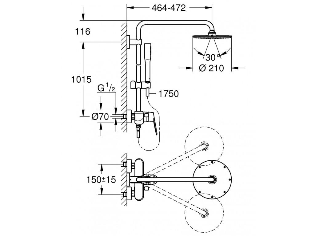 Euphoria Eurodisc Cosmopolitan System 210 divara montaj   qarışdırıcılı duş sistemi