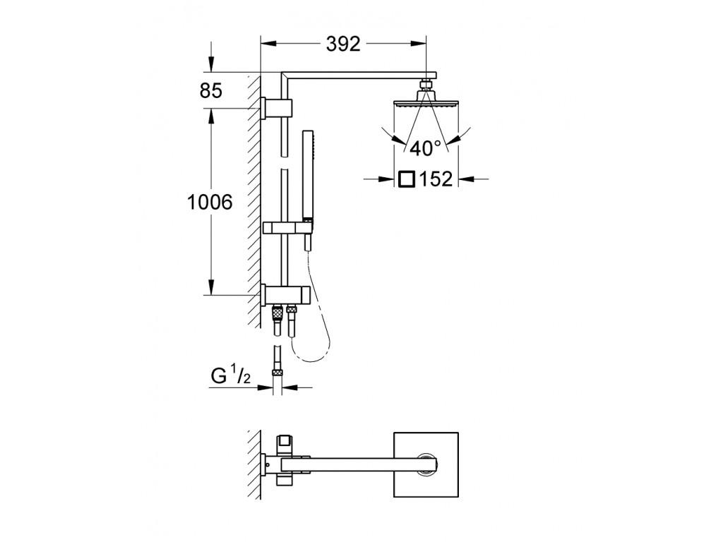Euphoria Cube Sistem 150 divara montaj yön değiştiricili duş sistemi