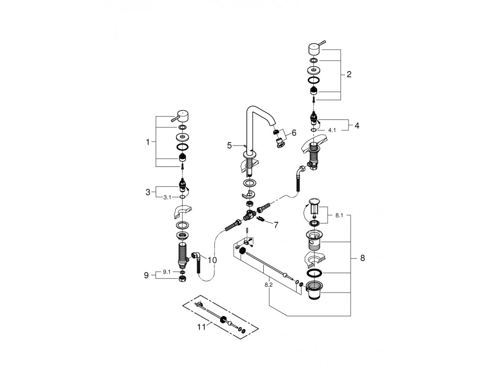 Essence 3 dəlikli çanaq qarışdırıcısı L-ölcü