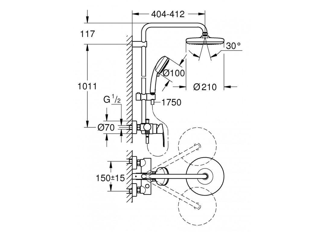 Tempesta System divara montaj   qarışdırıcılı duş sistemi