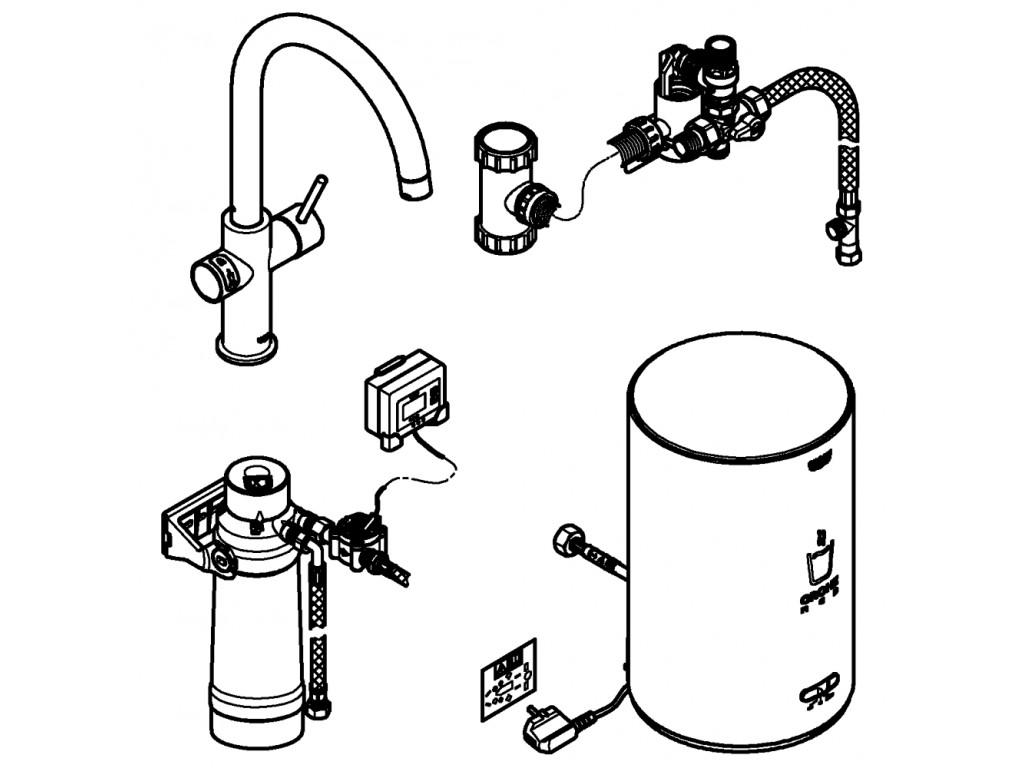 GROHE Red Duo qarışdırıcı ve M ölcü su ısıtıcısı