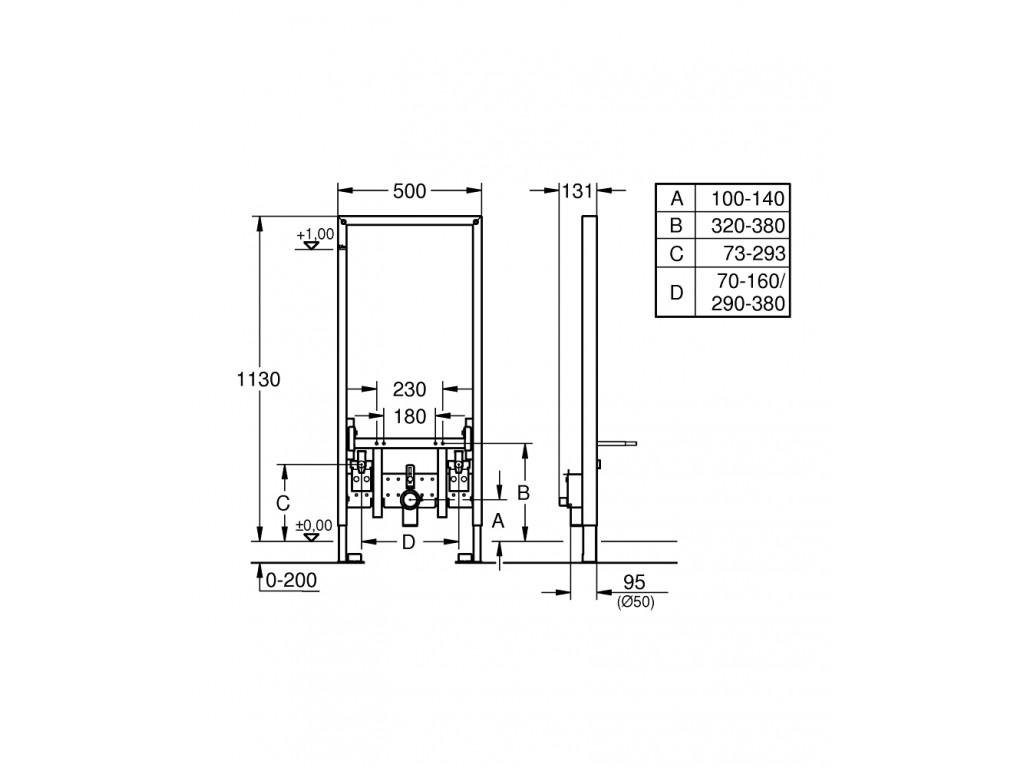Rapid SL Bide için gömme rezervuar, 1.13 m montaj yüksekliyi