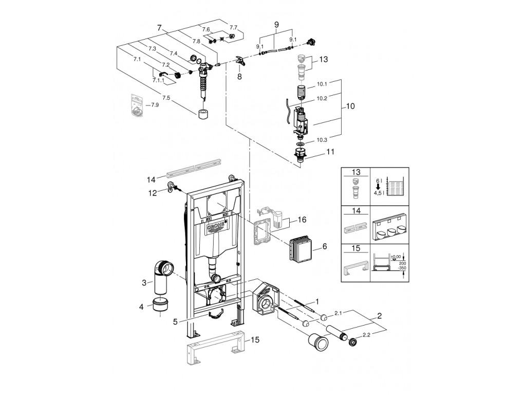 Rapid SL GROHE Sensia akıllı unitaz sistemi için Rapid SL pnömatik gömme rezervuar