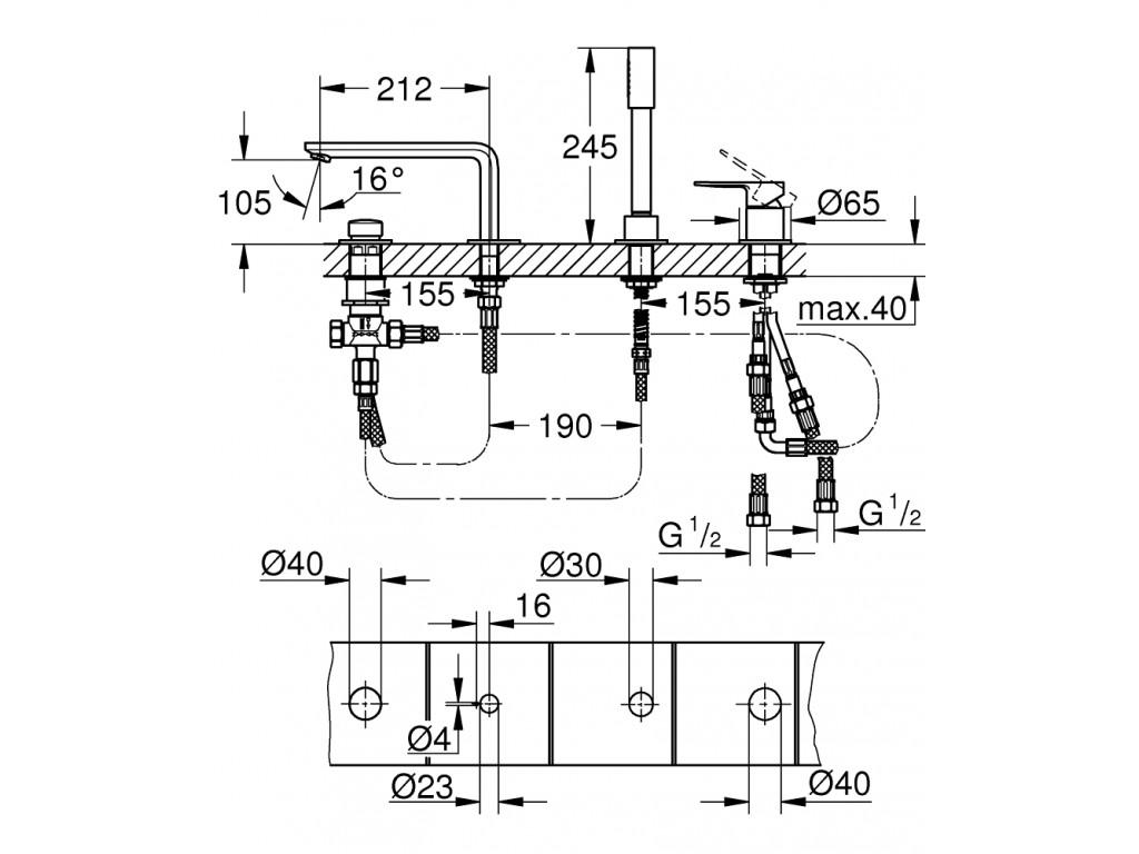 Lineare Dört dəlikli vanna qarışdırıcısı