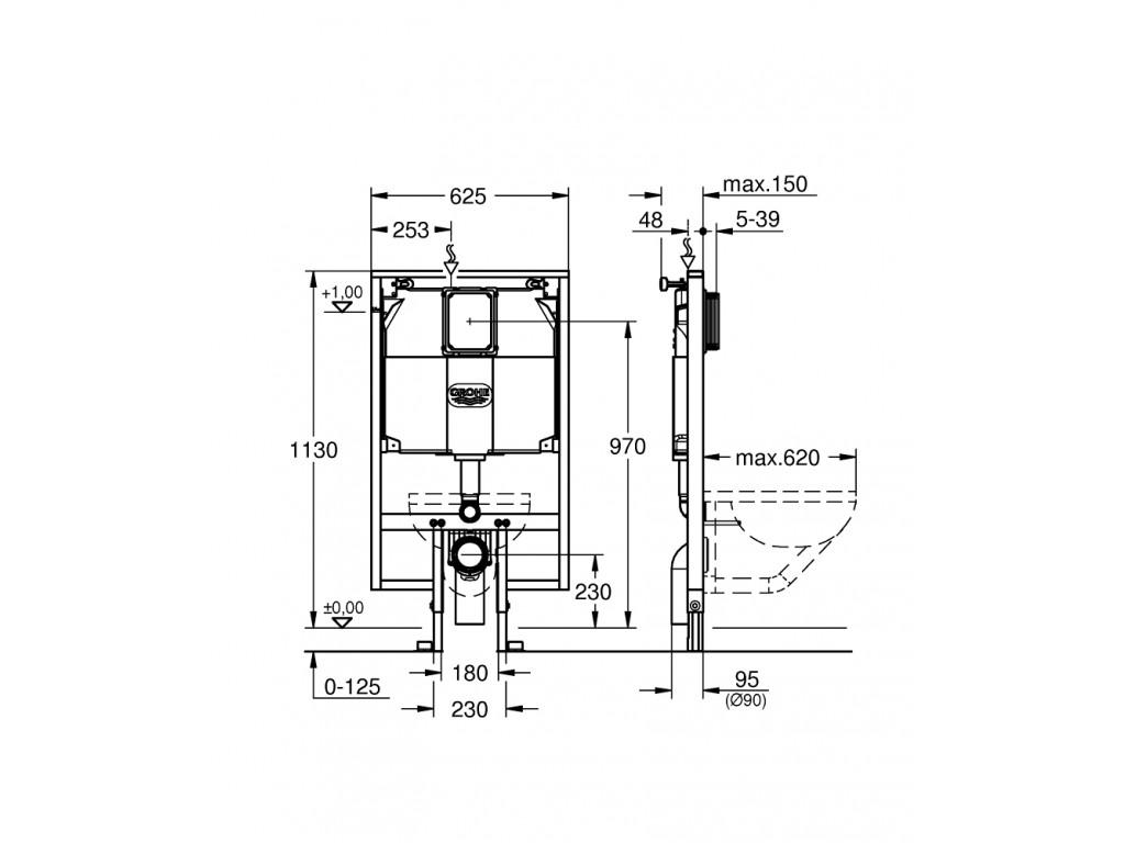 Rapid SL Gömme rezervuar, 80 mm, 1.13 m montaj yüksekliyi