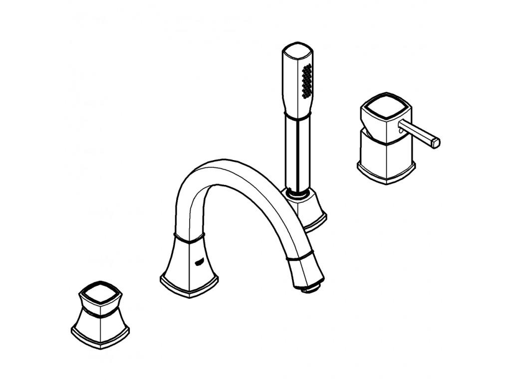 Grandera Dört dəlikli vanna qarışdırıcısı
