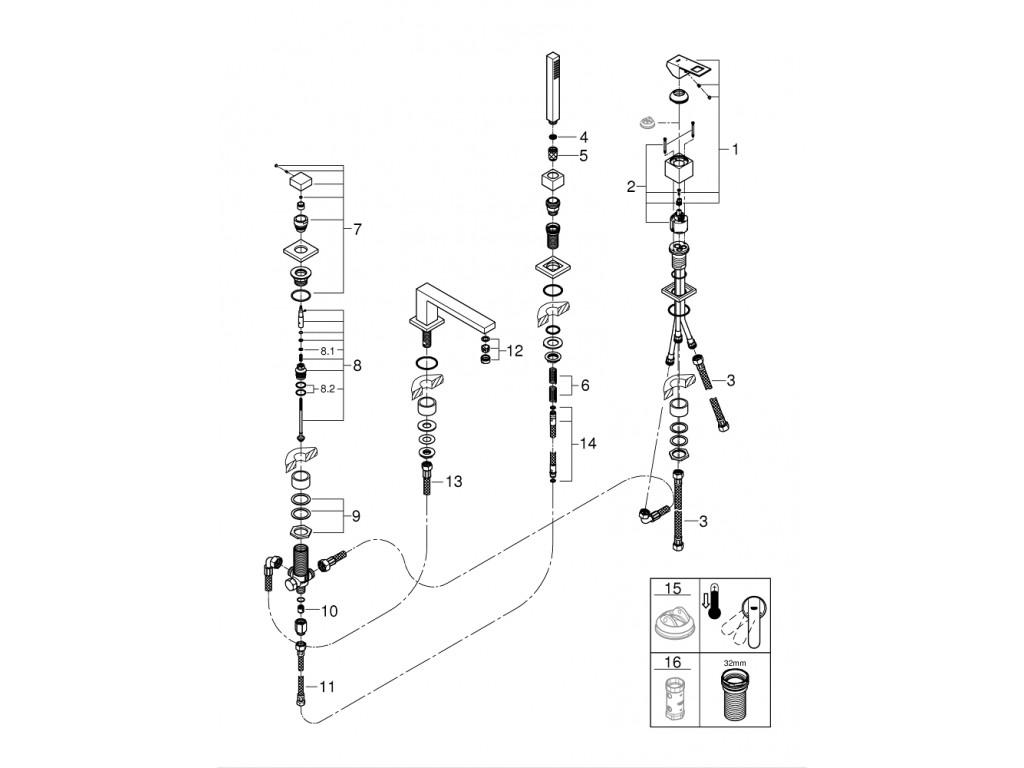 Eurocube Dört dəlikli vanna qarışdırıcısı