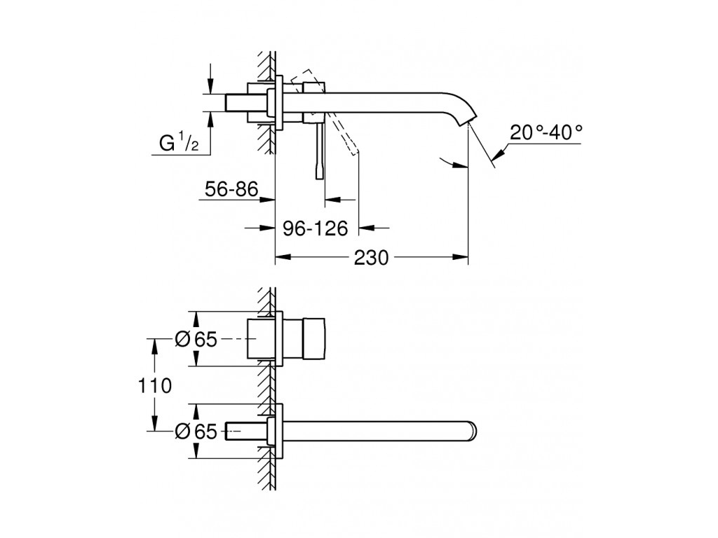 Essence İki dəlikli çanaq qarışdırıcısı L-ölcü