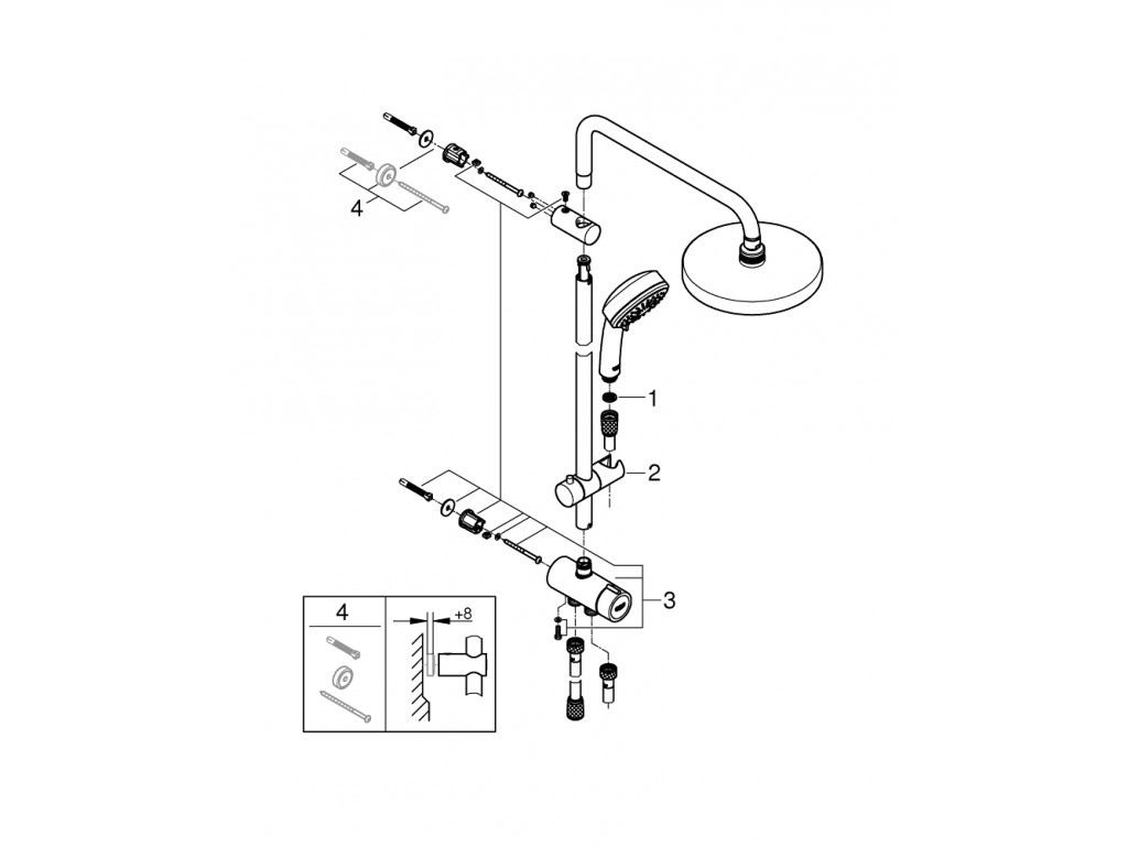 Tempesta Cosmopolitan Sistem 200 divar bağlantılı, divertörlü duş sistemi
