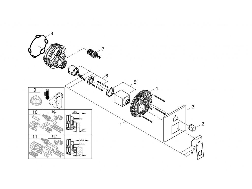 Eurocube   3 yönlü hamam qarışdırıcısı