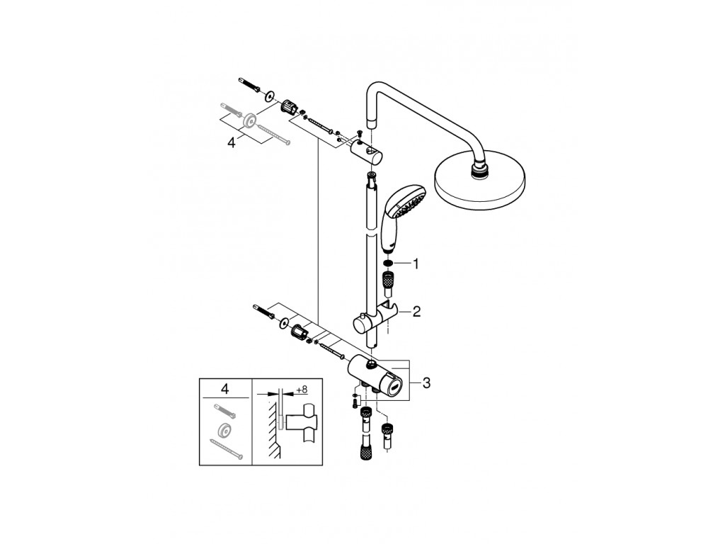 Tempesta Sistem 200 divar bağlantılı, divertörlü duş sistemi