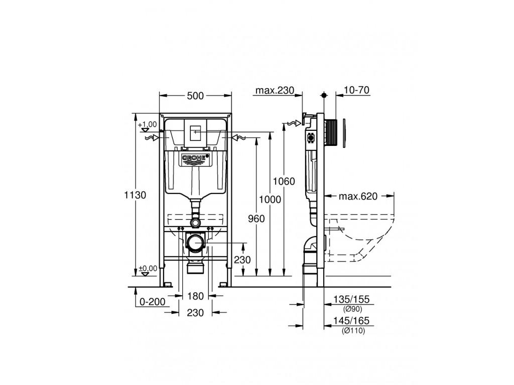 Rapid SL 3'ü 1 arada WC gömme rezervuar seti, 1.13 m montaj yüksekliyi